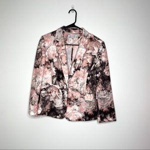 Tahari ASL Floral Pink Scuba Blazer Jacket 12